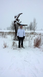 Sculpture at Northerly Island in the winter